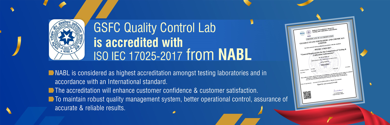 GSFC Quality Control Lab is Accredited with ISO IEC 17025-2017 from NABL